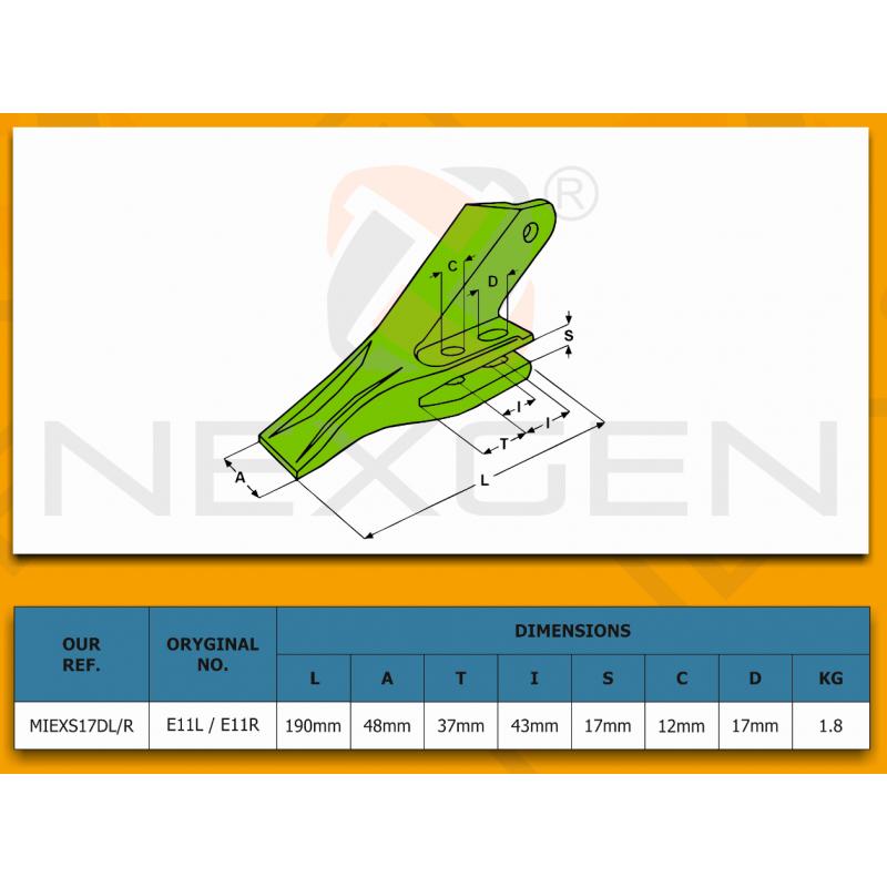 Adapter zęba ESCO V19 SYL / JCB - zamiennik - 331/12508