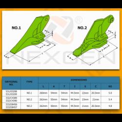 Ząb skrajny lewy JCB 3CX 4CX - Nowy model - 332/C4389
