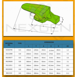 Adapter zęba ESCO V33 SYL / JCB - zamiennik - 331/12511