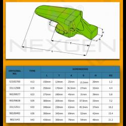 Adapter zęba ESCO V23 SYL / JCB - zamiennik - 993/99577
