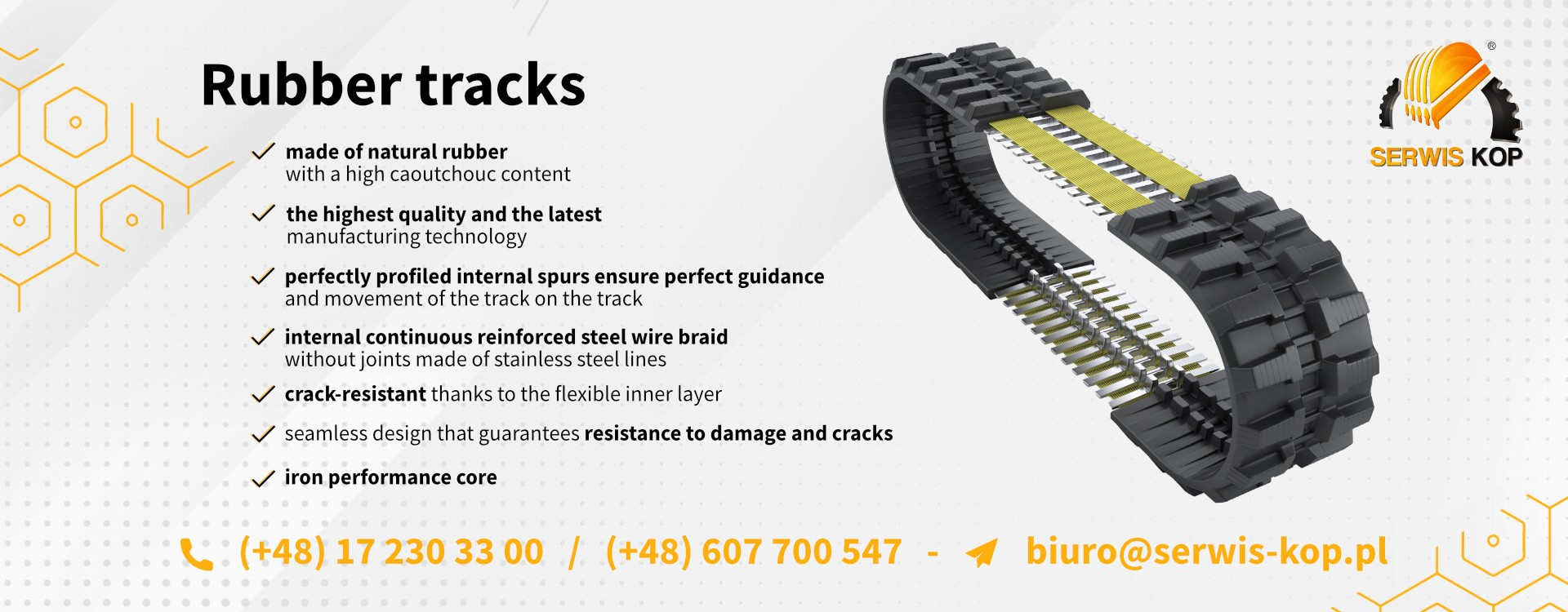 Rubber Tracks suitable for construction machines